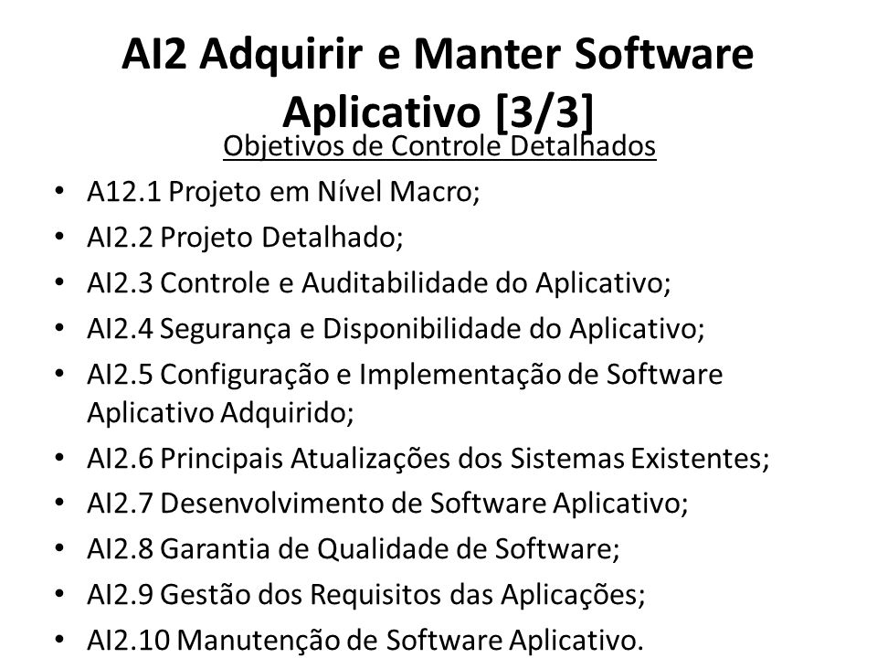 AI2 Adquirir e Manter Software Aplicativo [3/3]